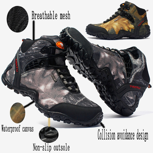 Mens Outdoor Mountaineering Shoes Waterproof Wear-resistant Camouflage Boots Resistant Breathable Fishing Shoes Climbing Hiking Boots 40-46