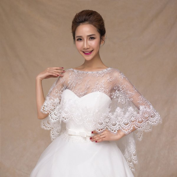 Bridal Wraps Wedding Bolero Lace Appliques Women Cape Beaded Wedding Shawl Vintage Bridal Wraps Cheap Bridal Accessories 2018