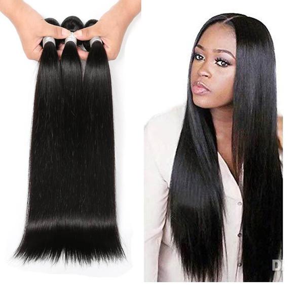 Rohes indisches Haar 100% reines Remy unverarbeitetes Haareinschlagfaden und gewelltes gerade Nähen in Haarverlängerung 1b