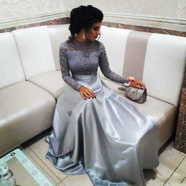 2018 Prom Dresses Silver Lace Top Long Sleeve Satin Arabic Evening Dresses Sleeves Prom Party Gowns SP362