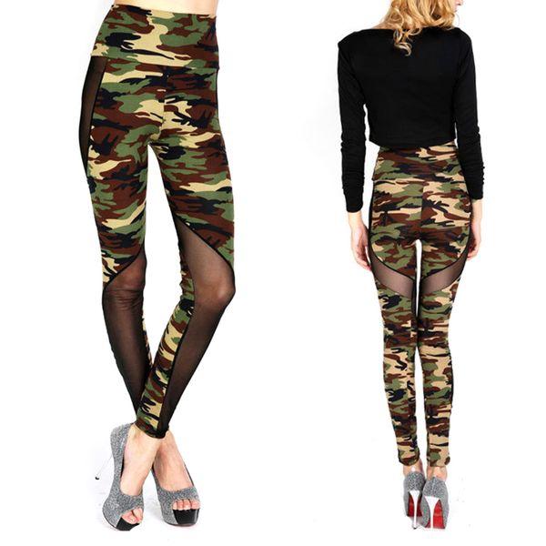 Women Sexy Mesh Camouflage Leggings High Waist Patchwork Stretchy Slim Army Camo Leggings Female Leggings KH853218
