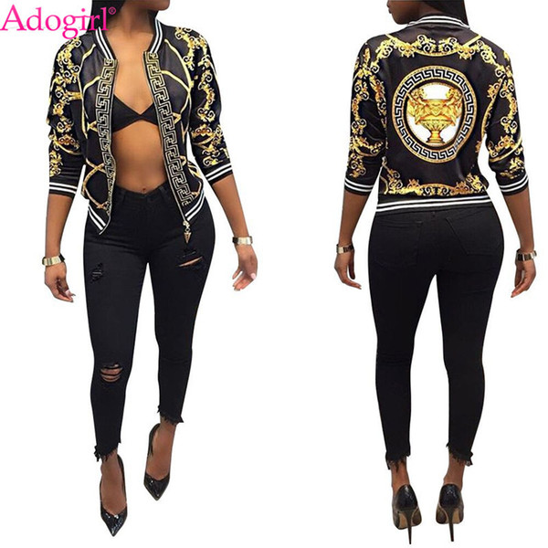 Adogirl Fashion Print Women Bomber Jacket Long Sleeve Zipper Slim Baseball Outwear High Quality Ladies Spring Autumn Coats Tops