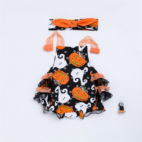 Halloween Newborn Romper Clothes Baby girls Pumpkin Jumpsuit Sleeveless Pumpkin Overalls Lace shoulder straps Infant Party Clothing