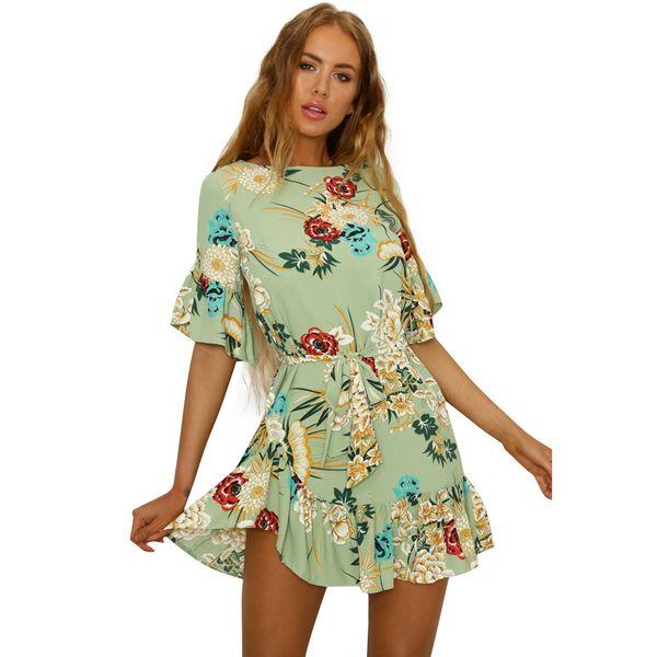 2018 Women Summer Beach Dress Bohemian Floral Print Boho Dress O-Neck Half Sleeve Ruffle Mini Chiffon Dress Belted Robe Femme