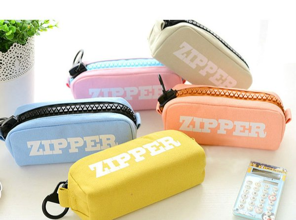 School Supplies Pencil Bags Pencil Cases with Big Zipper Decorated in 5 colors Singel Packing PVC Box