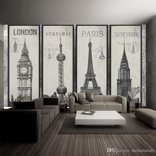 Fashion Eiffel Tower Sydney Greek city Building set DIY Wallpaper mural Living Room Background Decor Mural Decal Wallpaper