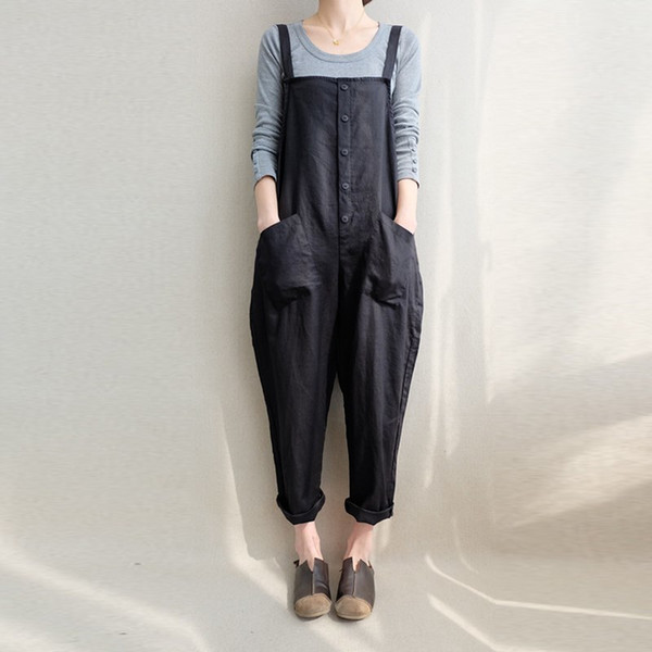ZANZEA Women Sleeveless Pockets Dungaree Baggy Jumpsuits Overalls Fashion Strappy Casual Loose Long Harem Pants Bib Trousers Y1891806