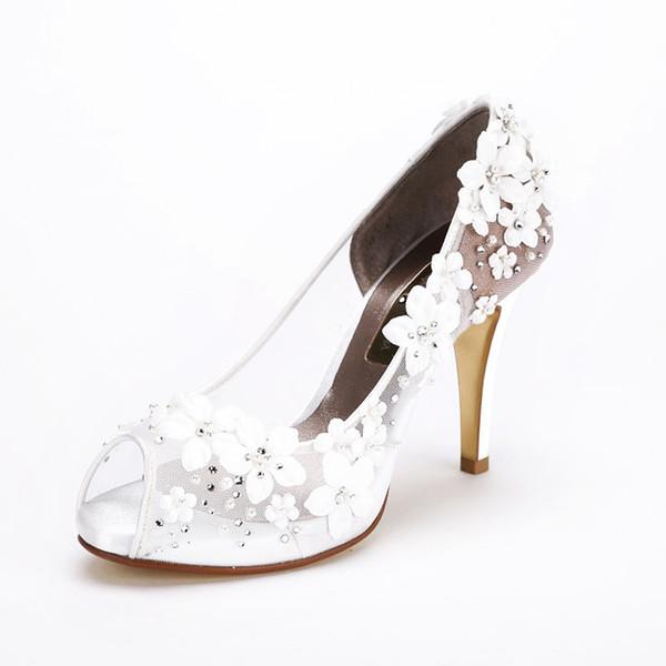New bride wedding banquet dress high heel Peep Toe Flower Pearl water drill shoes big code size 35-42 heel 10cm