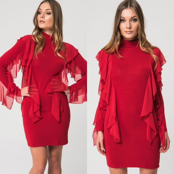 2018 Fall Chic Red Mother Of The Bride Dresses High Neck Chiffon Short Skirt Sheath Long Sleeves Ruffles Mothers Wedding Guest Dress