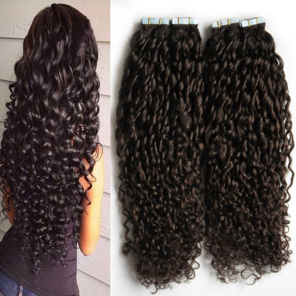 """Tape Hair 2 bundles 80pcs Brazilian Kinky Curly Skin Weft 20 22 24 26"""" Hair Extension Tape Remy Human skin weft tape hair extensions 200g"""