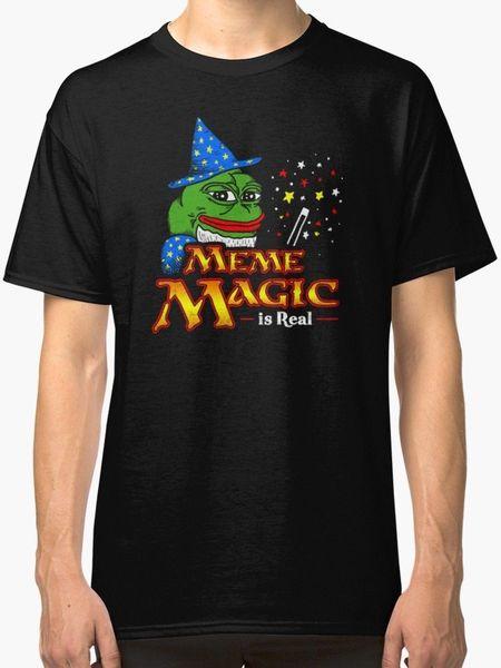 Meme Magic Is Real Pepe The Frog Wizard New T-Shirt da uomo famiglia nera Top Tee Maglietta da uomo 100% cotone New Brand-Clothing Tee 2018 Cotton