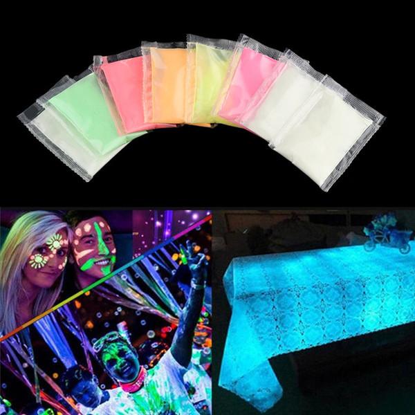 1 Sac Nail Glitter Glow dans le Pigment Noir Poudre À Ongles Fluorescent Poudre Effet Lumineux Glitter DIY Festival Décoration Outils