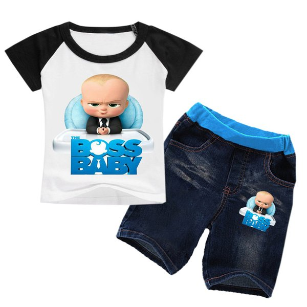 2-8 años Bobo Choses Summer 2018 The Baby Boss Clothing Boy Summer Set Girl Set Clothes 2pcs Shirt Tshirt Shorts Kids Jeans