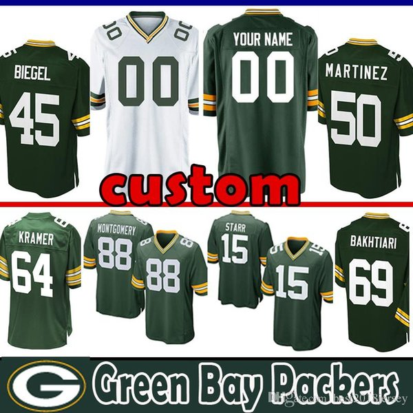sports shoes aa18d d3b01 2018 33 Aaron Jones Custom Jersey Green Bays Packers 45 Vince Biegel 88 Ty  Montgomery 2 Mason Crosby 64 Jerry Kramer 92 Bakhtiari Bakhtiari Starr From  ...