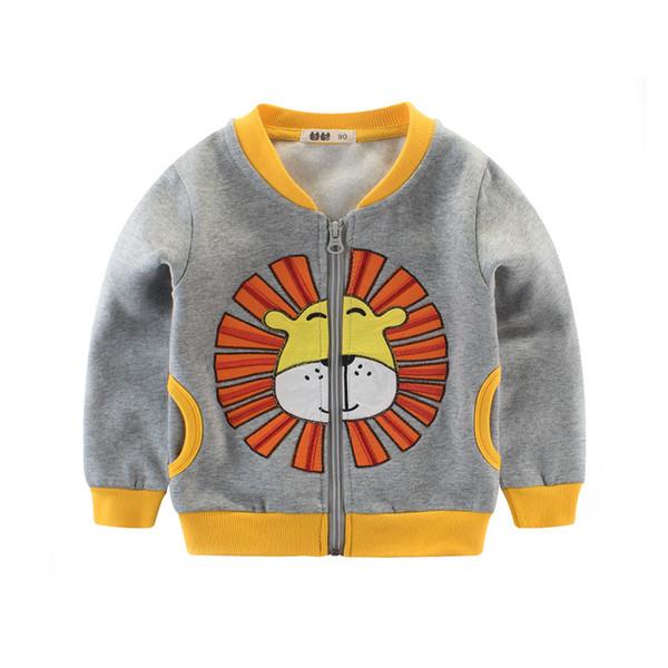 Мода мальчиков куртка Лев перевешивает топы дети одеты хлопок пальто zip весна осень
