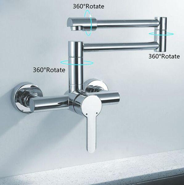 2019 Finish Folding Kitchen Faucets Wall Mount Single Handle Chrome Mixer  Bar Taps Bathroom Sink Faucet Kitchen Sink Faucets From Jiemei_shower, ...