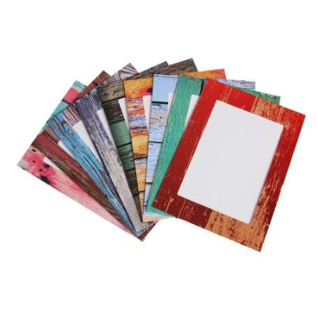Creative Home 9 Pcs 7 inch Rectangle Paper Photo Frame With Wood Clips Wall Picture Album DIY Hanging Rope Frame Home Decer
