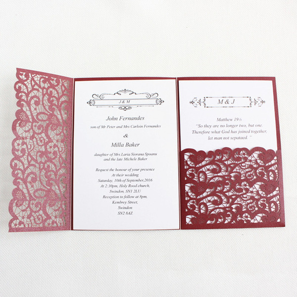 Laser Cut Wedding Invitation Card Burgundy Gold Blue Tri Fold Pocket Customized Business Invitations Rsvp Cards Party Supplies Cheap Pocket Wedding