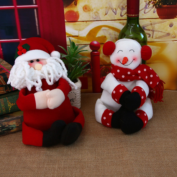 Wine Bottle Decorative Doll For Christmas Festival Party Ornaments New Year Santa /Snowman Xmas Decor 1pc Santa Claus Decorating