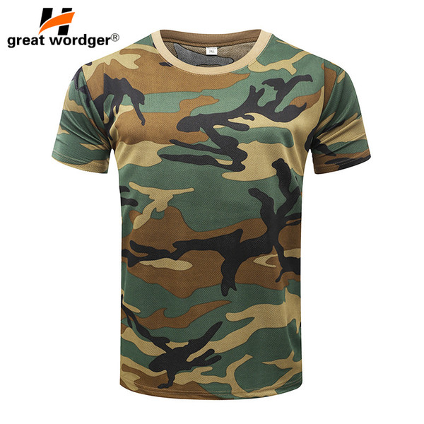 Outdoor Tactical Camouflage T-shirt Men Breathable US Army Combat T Shirt Quick Dry Camo Outwear Camp Tees