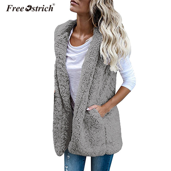 Free Ostrich Winter Faux Fur Vest Women Warm Coat Sleeveless Pockets Hooded Cardigan Casual Outerwear Jacket chaleco mujer