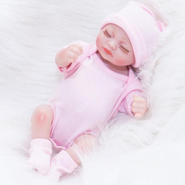Reborn Newborn Baby Realike Doll Hecho a mano Realista Vinilo de silicona Weighted Alive Doll para regalos para niños pequeños 10 pulgadas Dolls Kids Playmate Gifts