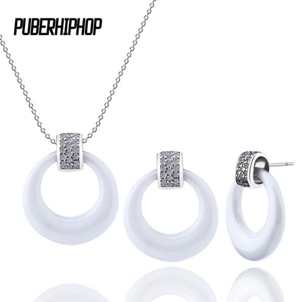 collier argent ceramique blanc