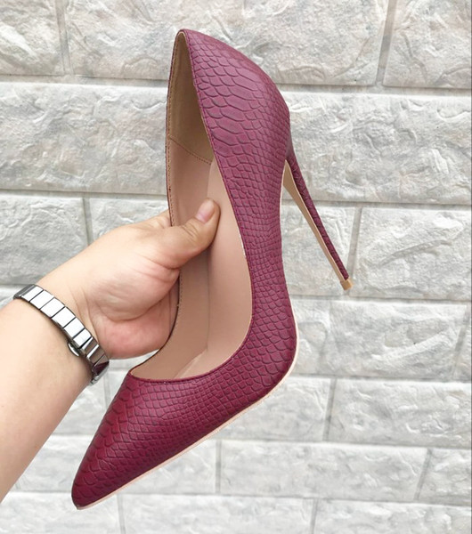 Latest Girls New Latest Snake leather Printed high heels party dress stiletto high heel pumps Shoes 12cm High Heels for women