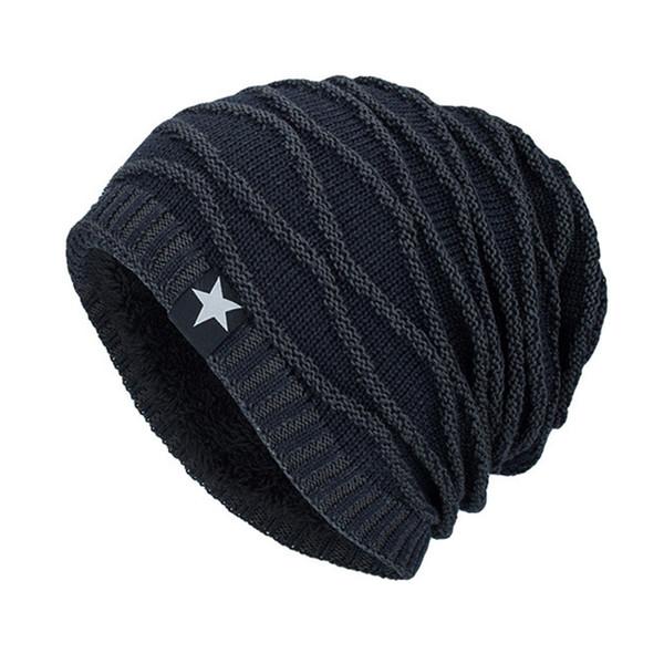 MIOIM Invierno Otoño Estrella Sombrero de punto Hombres Mujeres Grueso Fleece Warm Beanies Unisex Soft Skullies Cap Sombreros Femenino Chapeau Masculino F3