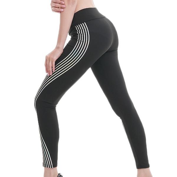 Moda mujer Fitness Leggings Light Shine Side Stripe elástico de cintura alta Leggins entrenamiento pantalones delgados pantalones Sexy Leggins mujer