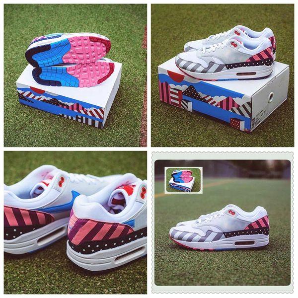 Großhandel Parra X Nike Air Max 1 Parra Mit Box 2018 Chaussures Piet Parra X 1 Weiß Multi Rainbow Designer Damen Herren Laufschuhe Marke Damen