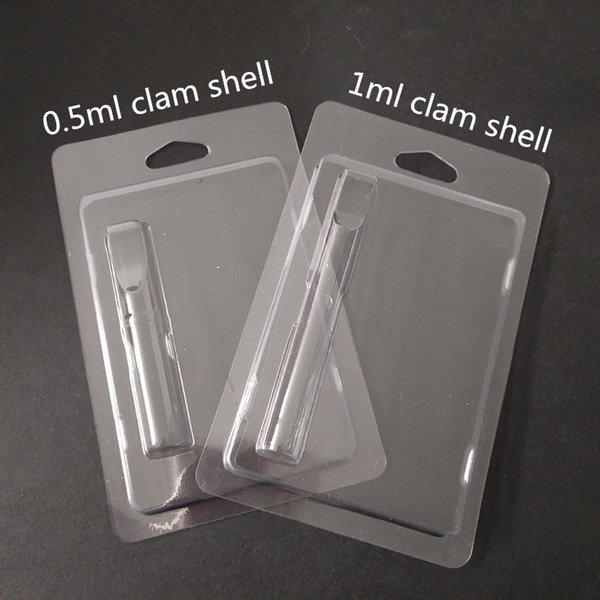 Hot Sale Electronic Cigarettes Plastic Clam shell Packing Clear for Wax Oil Cartridge O pen Vape Pen Cartrdge Clamshell Packaging