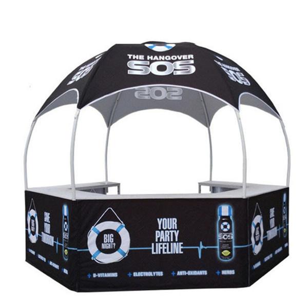 10x10ft Custom Printing plegable Catering Display cabina de kiosco de alimentos al aire libre con gráficos de sublimación de tinte y bolsa de ruedas portátil