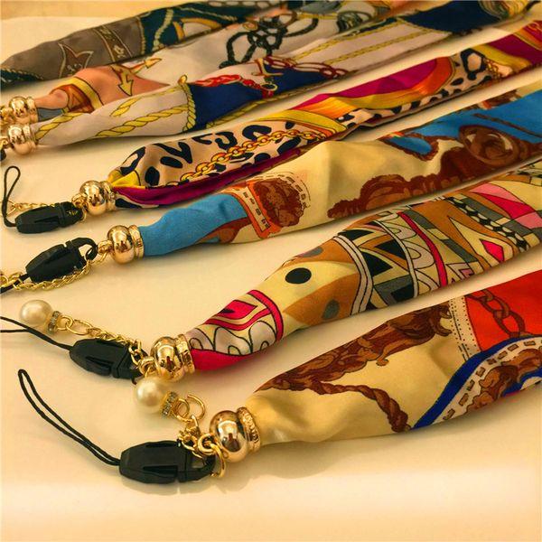 2018 nueva bufanda de seda teléfono móvil cordón moda nacional viento teléfono móvil cuerda larga correas de teléfono celular encantos accesorios