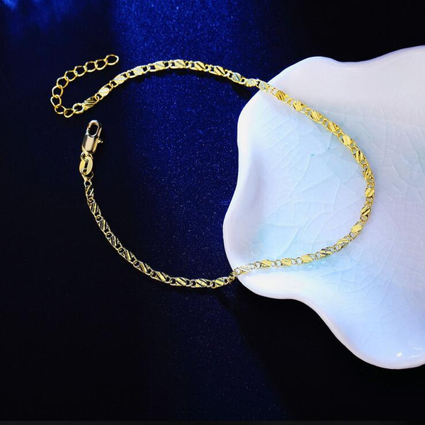 Silver Anklets Foot Jewelry Hot Sale Gold Anklet Link Chain For Women Girl Foot Bracelets Wholesale Free Shipping 0408WH