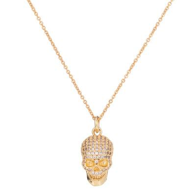 Hot Fashion Skull Necklace Pendant Jewelry Accessories Men Women Collar Ethnic zircon plated gold and silver gun, black rose gold Necklace