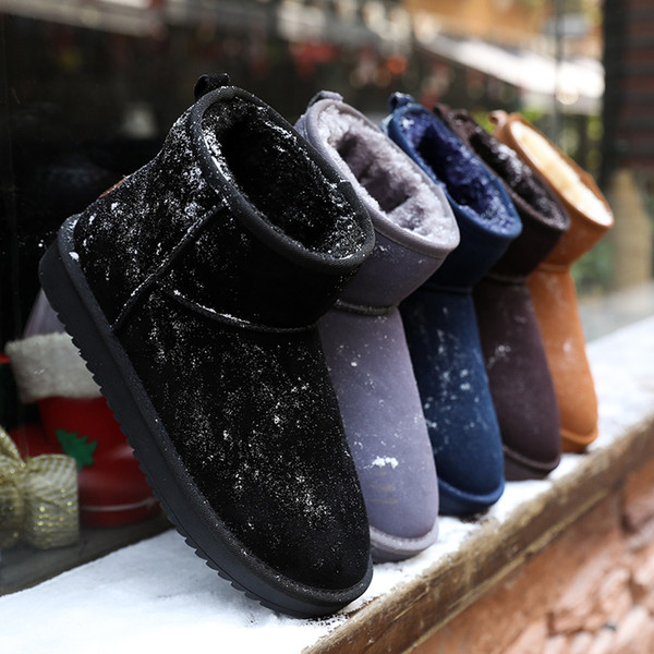 Classic Womens Mens Chelsea Cotton Boots Winter Warm Outdoor Plush Ankle Boots Flat Flock Slip-On High Heel Shoes EUR36-47