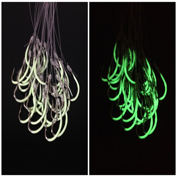 1 pack 12-28# Luminous Lures Hook (With Fishing Lines) Barbed Hooks Fishing Hooks Fishhooks Pesca Carp Fishing Tackle