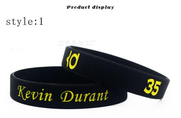 Venta al por mayor brillo de calidad en el brazalete de goma pulsera de silicona brazalete de deportes de baloncesto oscuro para los fanáticos de Durant regalo