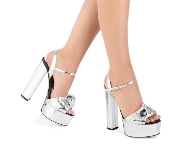 Gold Sliver Peep toe Platform High Heel Knot Decoration Sandals for Women Shiny Thick Chunky Heel Summer Shoes Glitter Sandals 2018