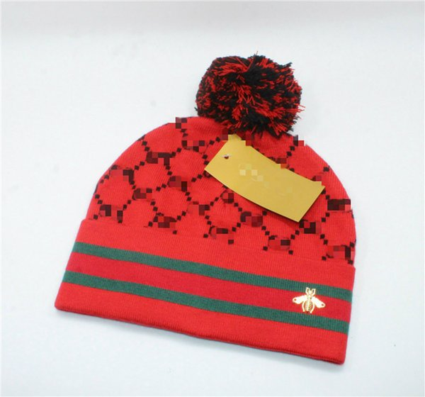 New European and American brand woolen hat, men and women winter warm add ball knitted hat, bee woollen hat