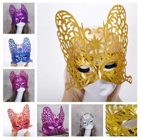 2018 new fashion festival Party Masquerade Venetian Masks Side Coloured drawing Exaggeration Gold powder Butterfly princess Mask