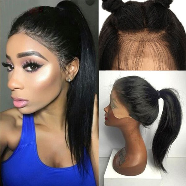 9A Hign Ponytail Lace Front Human Hair Wigs With Baby Hair Silky Straight Pre Plucked Virgin Hair Full Lace Wig For Black Women