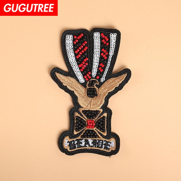 GUGUTREE beaded badge patches,crystals diamonds Sequined Applique Patch for Coat,T-Shirt,hat,bags,Sweater,backpack BDP-73
