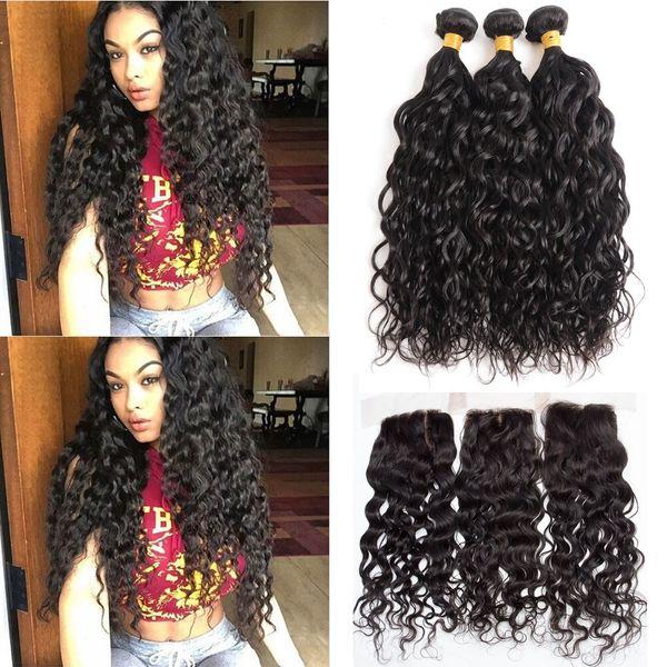 Human Hair Bundles with Closure Brazilian Water Wave Human Hair Natural Color 100% Virgin Human Hair 3 Bundles with 4*4 Lace Closure