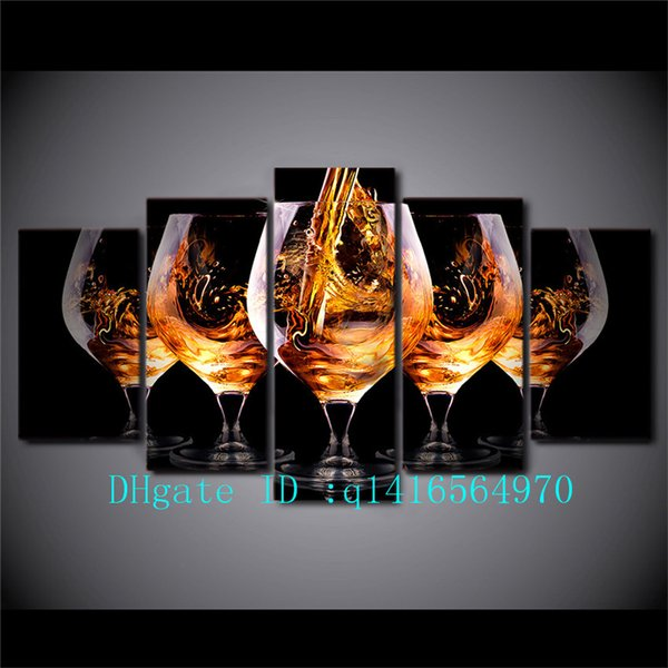 Beverage Glasses, 5 Pieces Canvas Prints Arte de la pared Pintura al óleo Decoración del hogar / (Sin enmarcar / Enmarcado)