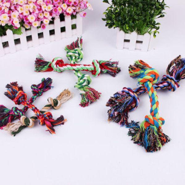 Puppy Dog Pet Chew Knot Toy Cotton Braided Bone Rope Teeth Clean Tug Treats Tool 3 Sizes Random Color