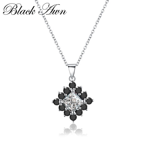 Fine Jewelry Genuine 3.3g 925 Sterling Silver Necklace Women Trendy Square Black&White Stone Necklaces Pendants P004 S18101308