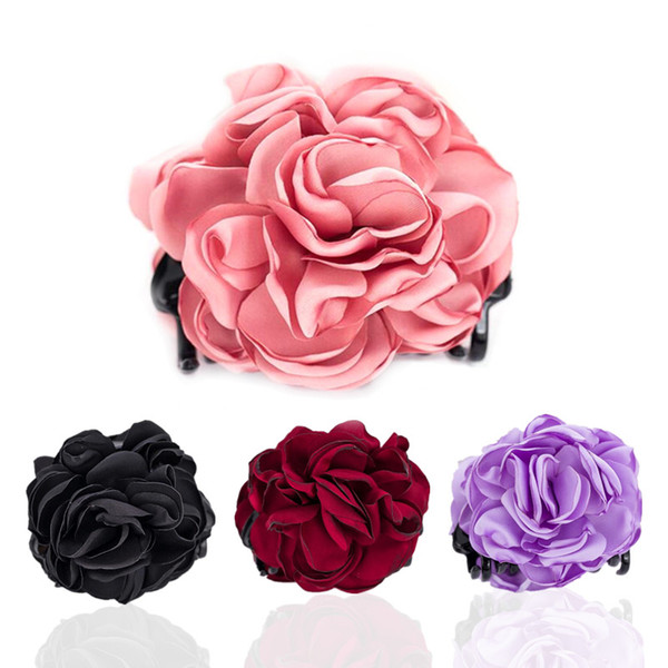 Red Rose Hair Clips Headwear Accessories for Women High Quality Fabric Flower for Women Gifts HW194