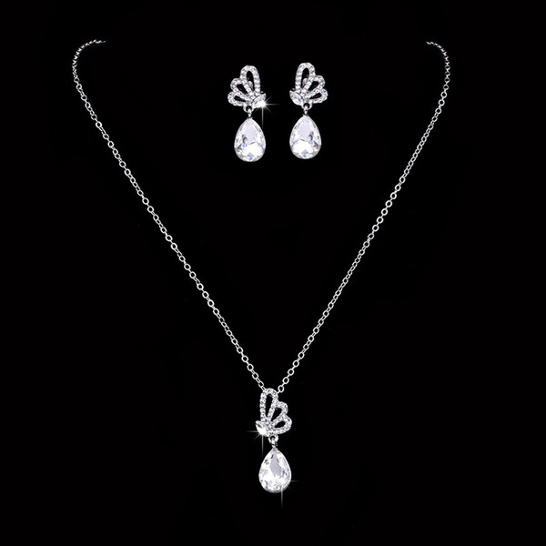 12 sets/lot,Butterfly shape lover Necklace Pendant Earring suit Inlaid Austria Crystal Made with Swarovski element Bridal Glittering jewelry